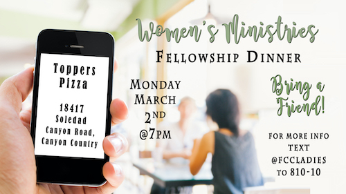 Women's Ministries - Fellowship Dinner 3/2